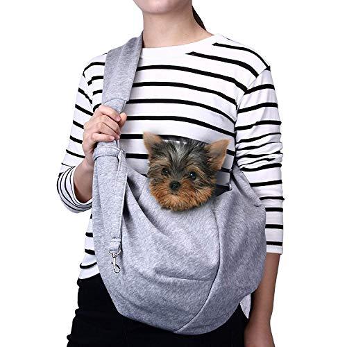 Ducomi® Pets immer zusammen mit Schulterriemen aus weichem Tuch für Hund und Welpen, grau