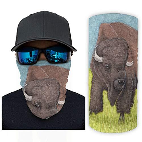 CCMugshop Máscara de pasamontañas vintage Bison Wild Painting Bandana Scarf UV/Dust White One Size