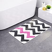 Microfiber Mat Rug Bath Mat Non-Slip Pad with Pink and Grey Stripes for Kitchen Indoor Rugs Bathroom Mats