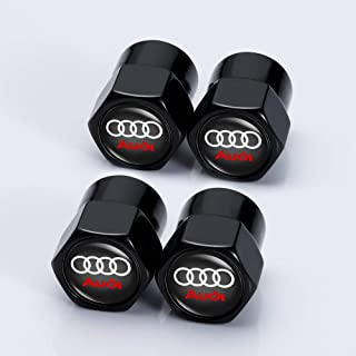 Kaolele 4 Pcs Metal Car Wheel Tire Valve Stem Caps for Audi S Line S3 S4 S5 S6 S7 S8 A1 A3 RS3 A4 A5 A6 A7 RS7 A8 Q3 Q5 Q7 R8 TTWith Key Chain Logo Styling Decoration Accessories