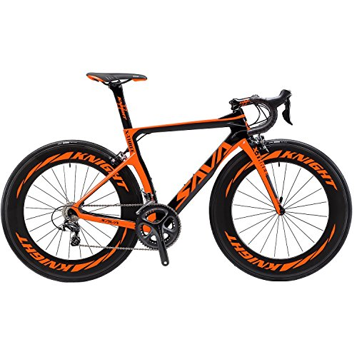 SAVADECK Phantom 2.0 Carbon Fiber Road Bike 700C Racing Bicycle with Ultegra 8000 22 Speed Group Set, 25C Tire and Fizik Saddle (New Orange - 88mm Wheels, 470MM)