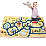 Kids Rug Area Play Mat Car Carpet with Road 4'11' X 2'7' Intelligence Development Desert Military Game Theme-(HD) with Non-Slip Backing Non Toxic for Playroom Bedroom Classroom Educational