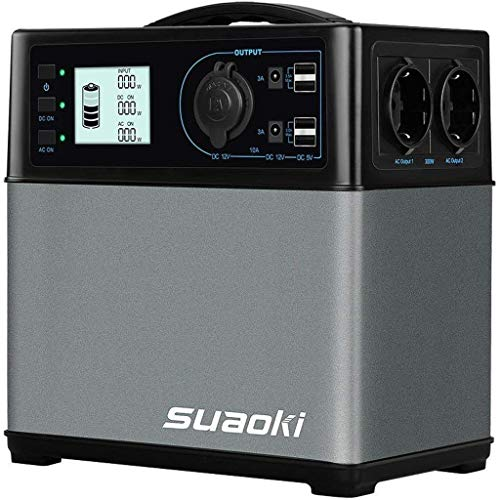 SUAOKI 400Wh Mobiler Energiespeicher, Solar Generator/AC Steckdose/Autos, 4 USB-Ports/ 2 AC & DC Inverter/ 1 Zigarettenanzünder- Buchse