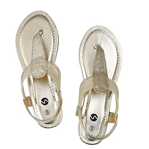 Rekayla Flat Sandals - Sparkling Elastic Strappy Thong Ankle Strap Sandals for Women Rose Gold 05