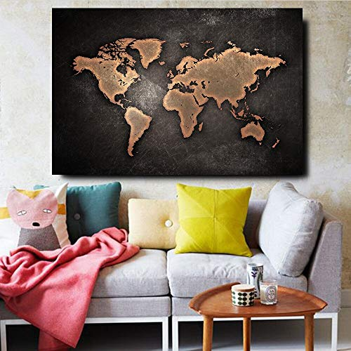 Lunderliny Large Size 1 Pieces World Map Hd Print On Canvas Paintings For Living Room Modern Home Decor Wall Art Posters Bedroom Pictures 40x60cm