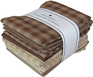 Dunroven House Homespun 12-Piece Fat Quarters, 18 by 21-Inch, Brown/Natural