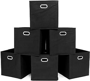 Goobest 6 Pack Modern Foldable Organizer Bins Fabric Cube Storage Cubes Thick Closet Organizers Boxes Black