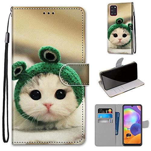 Miagon Flip PU Leder Schutzhülle für Samsung Galaxy A41,Bunt Muster Hülle Brieftasche Case Cover Ständer mit Kartenfächer Trageschlaufe,Frosch Katze