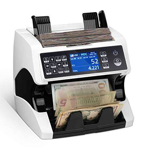 MUNBYN Money Counter Machine Mixed Denomination Bill Counter and Sorter, 2 CIS/UV/MG/MT/IR Counterfeit Detection, Serial Number, Cash Value Multiple...