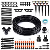 OUTERDO Drip Irrigation Kit, 82Ft/25M Garden Irrigation System, Drip Watering Sprinkler Misting Cooling System for Outdoor Plants Greenhouse Patio Lawn