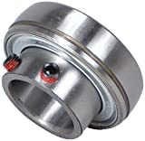 "Peer Bearing FHS208-40MM Insert Bearing, FHS200-G Series, Narrow Inner Ring, Spherical Outer Ring, Non-Relubricable, Set Screw Locking Collar, Metric, Single Lip Seal, 40 mm Bore, 22 mm Inner Ring, 38 mm Outer Ring, 40 mm (1.575"") ID, 80 mm (3.15"") OD, 80 mm (3.15"") Width"