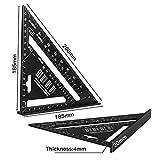Miner Triángulo Ángulo Protractor Aleación de Aluminio Velocidad Cuadrado Regla de medición Mitre para enmarcar Herramientas de medición de Carpintero de construcción, Negro