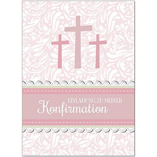 15 x Einladungskarten zur Konfirmation mit Umschlägen / 3 Kreuze, rosa, für Mädchen/Konfirmationskarten/Einladungen zur Feier