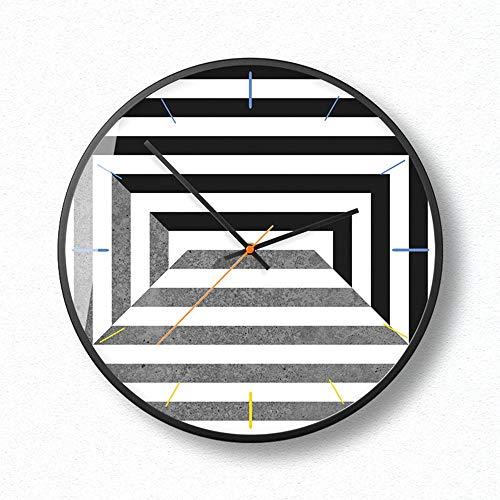 XinMeiMaoYi Reloj de pared laberinto de 14 pulgadas figura geométrica de moda reloj de pared del norte de Europa contratada horológica moderna sala de estar oficina decora reloj
