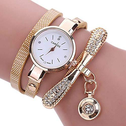 Morza La aleación del Metal Muchachas de Las Mujeres pequeña Pulsera con Esfera Colgante de múltiples Capas de Cuarzo del Reloj del Reloj de la Mano de la decoración