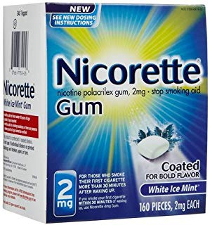 Nicorette OTC Stop Smoking Nicotine Gum, 2mg-White Ice Mint-160 ct. (Quantity of 1)