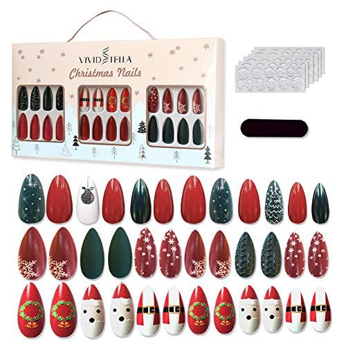 VIVID STELLA Unghie finte natalizie Copertura completa Unghie natalizie 72 pezzi Punte per unghie...