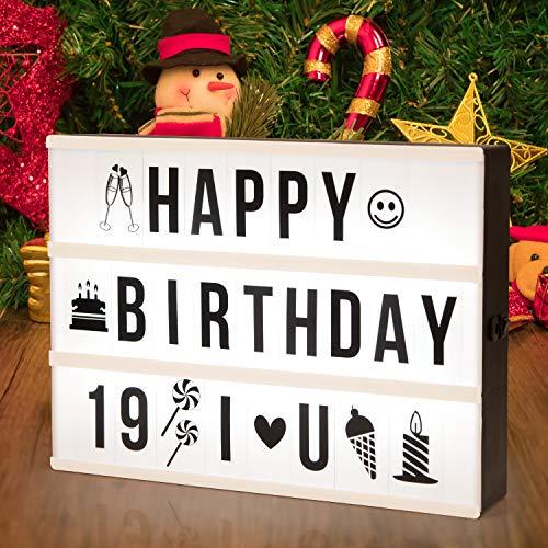 ADORIC Boîte Cinématique Lumineuse LED - Boîte Lumineuse Piles et alimentation USB Avec 96 Lettres et Symboles Flexible Décoration pour Chambre Mariage Fête Anniversaires Halloween Noël
