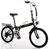 TiKingAn Folding Bike,20inch 7 Speed Portable Bikes,Double Disc Brake Mountain Bicycle Urban Commuters for Adult Teens,Stock US