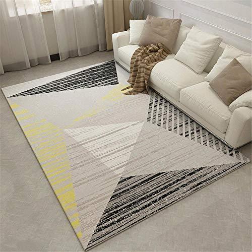 WQ-BBB Alfombra Grande Infantil Amigable con el Medio Ambiente Decoración de Estilo geométrico a Rayas Simple Negro Gris Amarillo Blanco alfombras pie de Cama 300X400cm