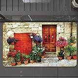 Alfombrilla de Baño Antideslizantes de 50X80 cm,Flores toscanas, coloridas fuera de casa en , Tapete para el Piso Lavable a Máquina con Microfibras Suaves Absorbentes de Agua para Bañera, Ducha y Baño