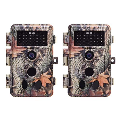 2-Pack No Glow Trail Game Deer Cameras 20MP 1080P H.264 Video Night Vision Motion Activated 0.1S Trigger Time Waterproof for Outdoor Wildlife Hunting and Home Security Surveillance Photo Video Model
