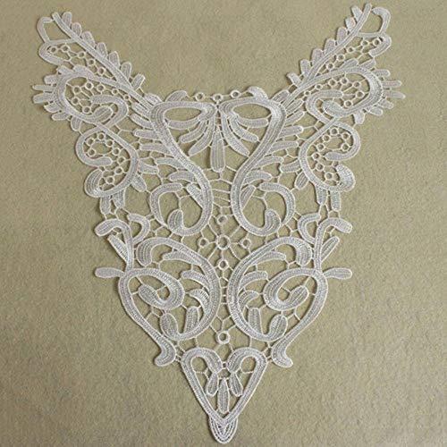 1pc Collar de encaje de 9 estilos Hermosa flor y corazn Venise Apliques de encaje Adornos de tela de encaje Suministros de costura Escote de encaje-Blanco, China