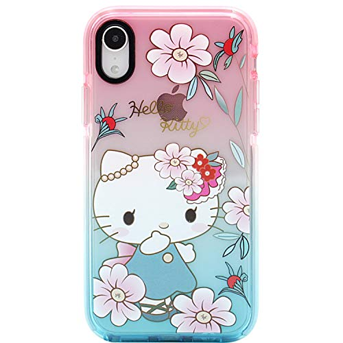 MC Fashion iPhone XR Hülle, Cute Cartoon Hello Kitty Transparent Hülle, Full Body Slim Fit Protective Soft TPU Hülle für iPhone XR 6.1 Zoll