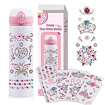 Cokoka Decorate & Personalize Your Own Water Bottle with Tons of Gem Stickers, Fun DIY Art and Craft Kit for Girls Age 6-12 , Modern Double Walled BPA Free 17 oz