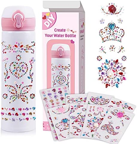 Decorate Personalize Your Own Water Bottle with 8 Sheets Gem Stickers DIY Art Kit and Craft product image