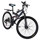 26in Carbon Steel Mountain Bike, Shimanos21 Speed Bicycle Full Suspension MTB 【US in Stock】 (#1)