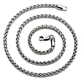 AmyRT Jewelry 4mm Titanium Steel Wheat Silver Chain Necklaces for Men & Women 22'