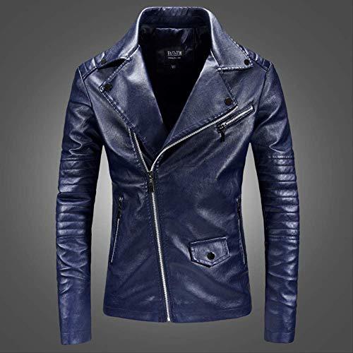 Giacche in Pelle Casual da Uomo, Giacca da Moto in Pelle Slim Fit da Uomo Coreano alla Moda, Design Bavero Aderente XL Blu Scuro