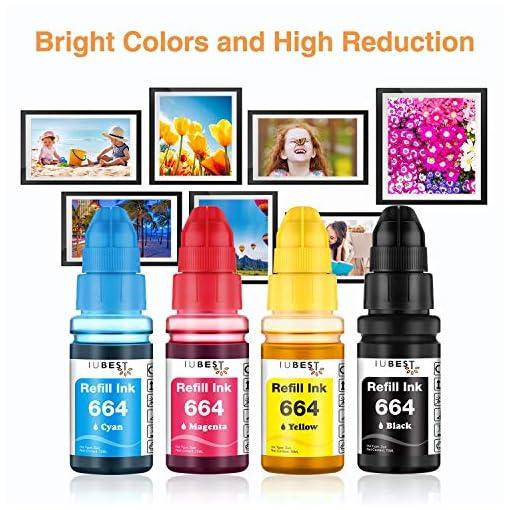 IUBEST 664 Compatiable para Epson 664 T6641 T6642 T6643 T6644 Ecotank Botellas de tinta para Epson EcoTank L355 L555 ET… 6