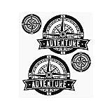 4R Quattroerre.it Quattroerre 9168 Kit Adventure Stickers Adesivi per Bauletti Moto, Rosa dei Venti 2