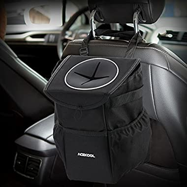 Acekool Waterproof Car Trash Can, Car Trash Bag with Lid and Storage Pockets Collapsible Car Garbage Can Adjustable Strap Fits to Headrest or Door Handle (10 PCS Garbage Bags Incluedd)