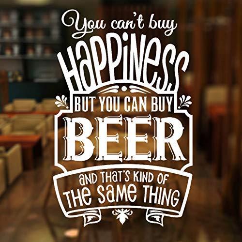 U Kunt Geen Geluk Kopen, Maar U Kunt Wel Bier Citaat Muursticker Vinyl Bier Pub Winkel Raamdecoratie Decal Verwisselbare Muurschildering 42X65Cm Kopen
