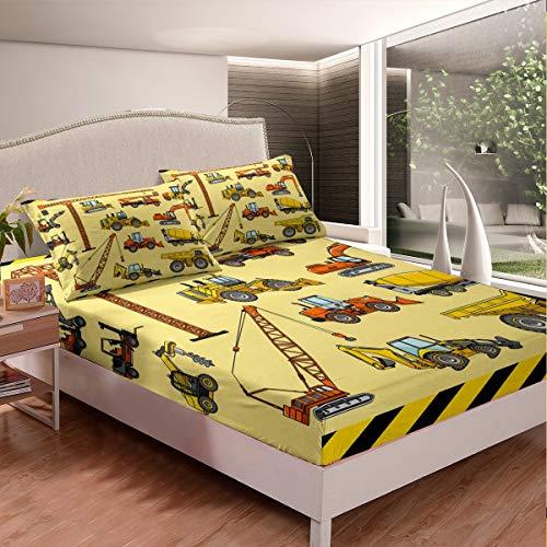 Tbrand Karikatur Auto Bettlaken Set Kinder Baufahrzeuge Spannbetttuch für Jugendliche Karikatur Maschinen LKW Spannbettlaken 90x200cm Baustelle Bagger 2St