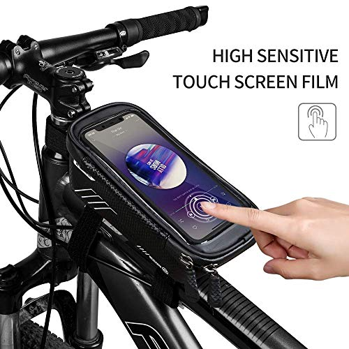 KUDALL Bicicleta Bicicleta Impermeable Bolsa de Manillar Tubo Superior Bolsa Bolsa Bolsa Mobile Phone Cradle Mountain Bike Frame Pocket Bolsillo para teléfono móvil para Smartphone