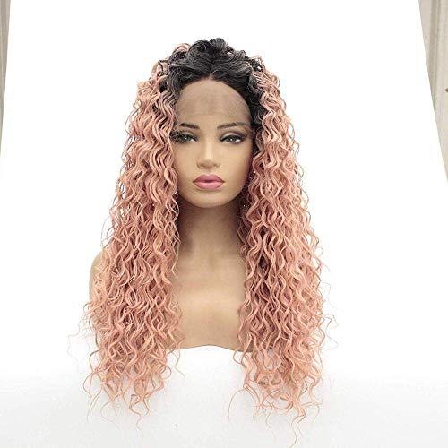 Perruques Femmes Fantaisie Perruques Bouclés Teints en Poudre Petite Perruque De Cheveux Longs Femmes Femelle Moelleux Rouleau Tête Avant Dentelle Chimique Fibre Perruque