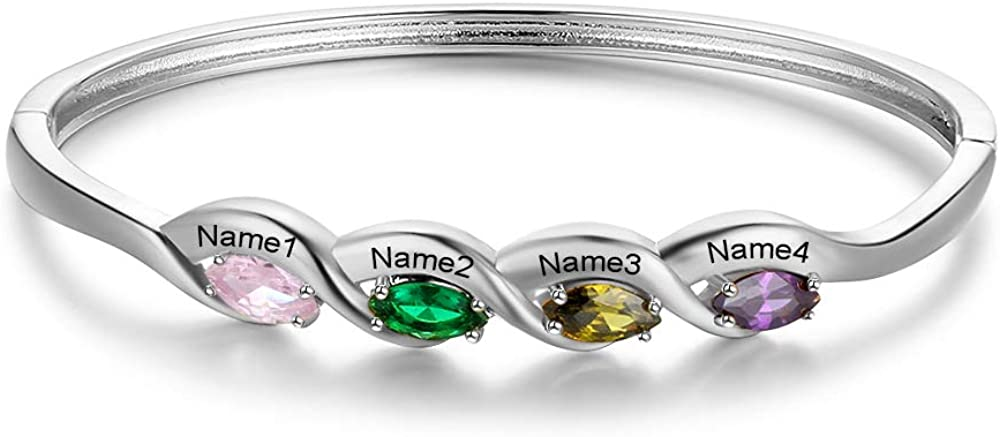 Personalized Mother Daughter Bangle Cuff 4 Kid Simulated Birthstones Bracelet for Women Engraved Names