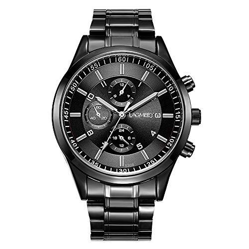 Relojes Hombre Cronógrafo Decorativo Sencillo con Correa de Acero Inoxidable Negro