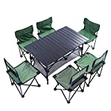 Mesa de camping plegable, mesa de picnic plegable de aluminio de siete piezas de sillas, rumbo de carga fuerte, plegable con bolsa de almacenamiento, fácil de transportar, 4-6 personas Mesa de fiesta