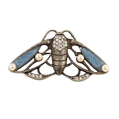 Damen-Brosche Schmetterling Nachtfalter Emaille Türkis Strass Perlen Messing Anstecknadel