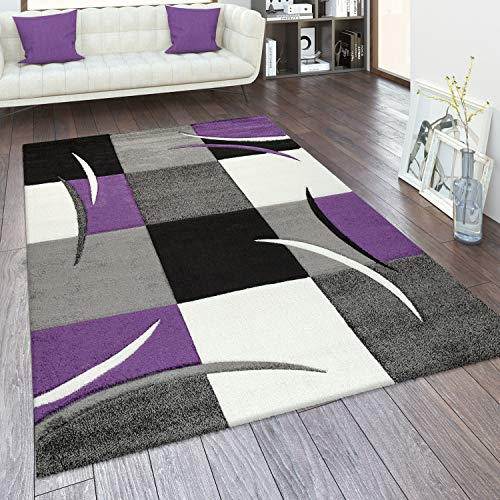 Alfombra Salón Tamaños Motivo Cuadros Rayas Diseño 3D Pelo Corto, tamaño:80x150 cm, Color:Púrpura
