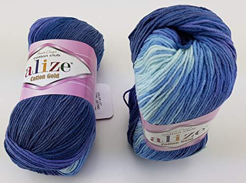 Alize Cotton Gold 5 x 100g Strickwolle 55% Baumwolle, 500 Gramm Wolle mit Farbverlauf Mehrfarbig 3299