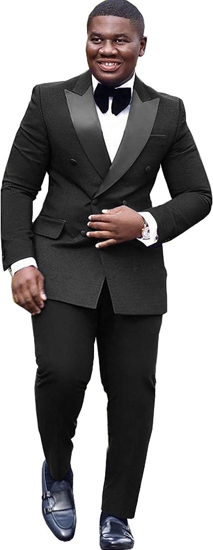 jianruiy Men's Pointed Lapel Suit Two-Piece Wedding Groomsmen Dress Jacket & Pants
