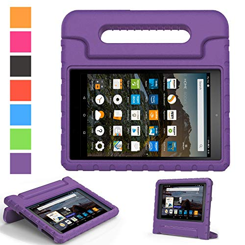 Amazon fire HD 8 case (Fit 6th,7th Generation 2016/2017 Release) - Kids Shock Proof Convertible Handle Light Weight Super Protective Stand Cover for Fire HD 8 (Fire HD8, Purple)