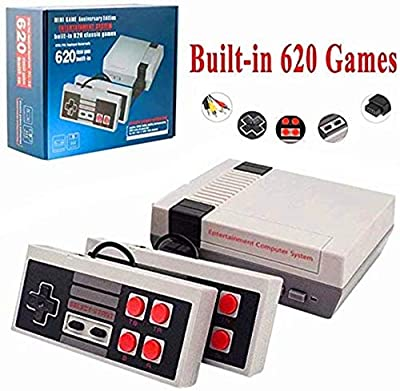 XJHANG Classic Mini Game Console with 2 Controllers and Built-in 620 Games, AV Output Video Games for Kids, Children Gift, Birthday Gift Happy Childhood Memories by XJHANG