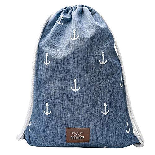 Turnbeutel blau mit Anker Print | leicht robust wasserabweisend extra Dicke Kordel aus Baumwolle vegan Kunstleder| Sportbeutel Unisex Damen Herren